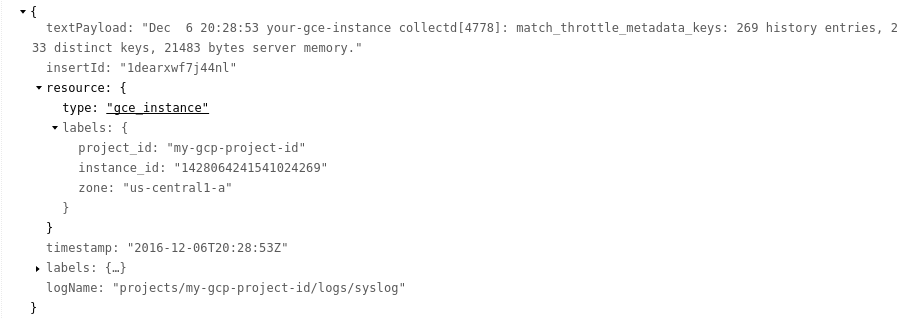 Structured request log entry