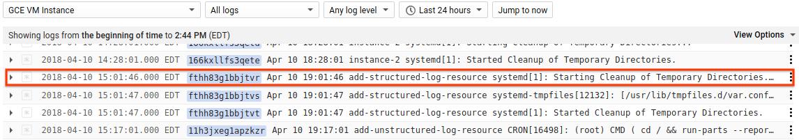 Log entry summary line
