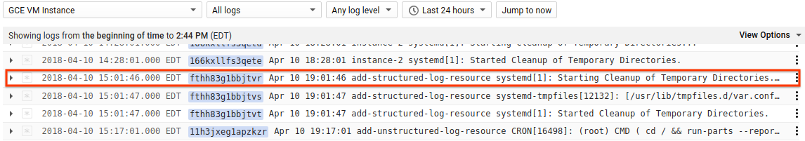 Log entry summary line