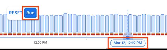 Time range adjusted using handles.