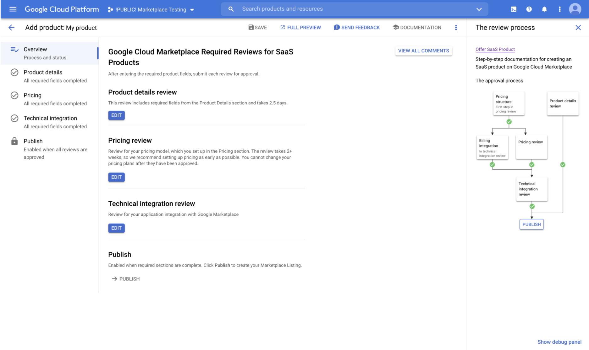 Página de visão geral do Portal do Produtor