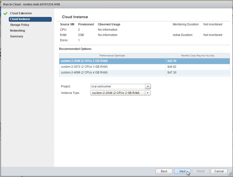 Cloud Instance screen, showing available instance sizes and recommendations for them