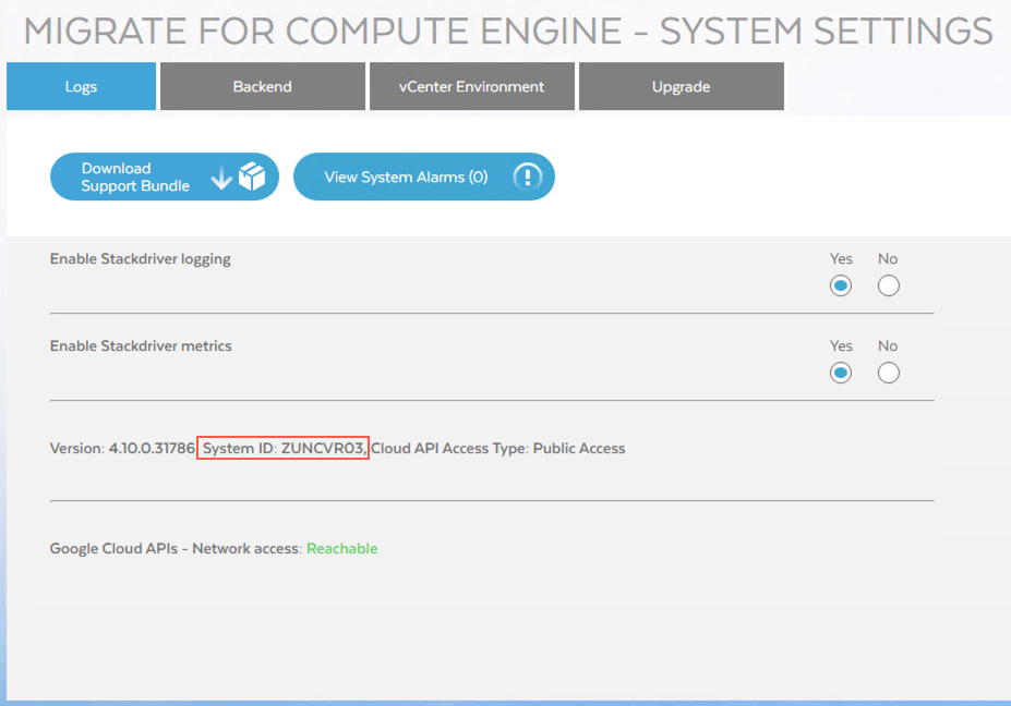The System ID as visible from the Migrate for Compute Engine Manager
