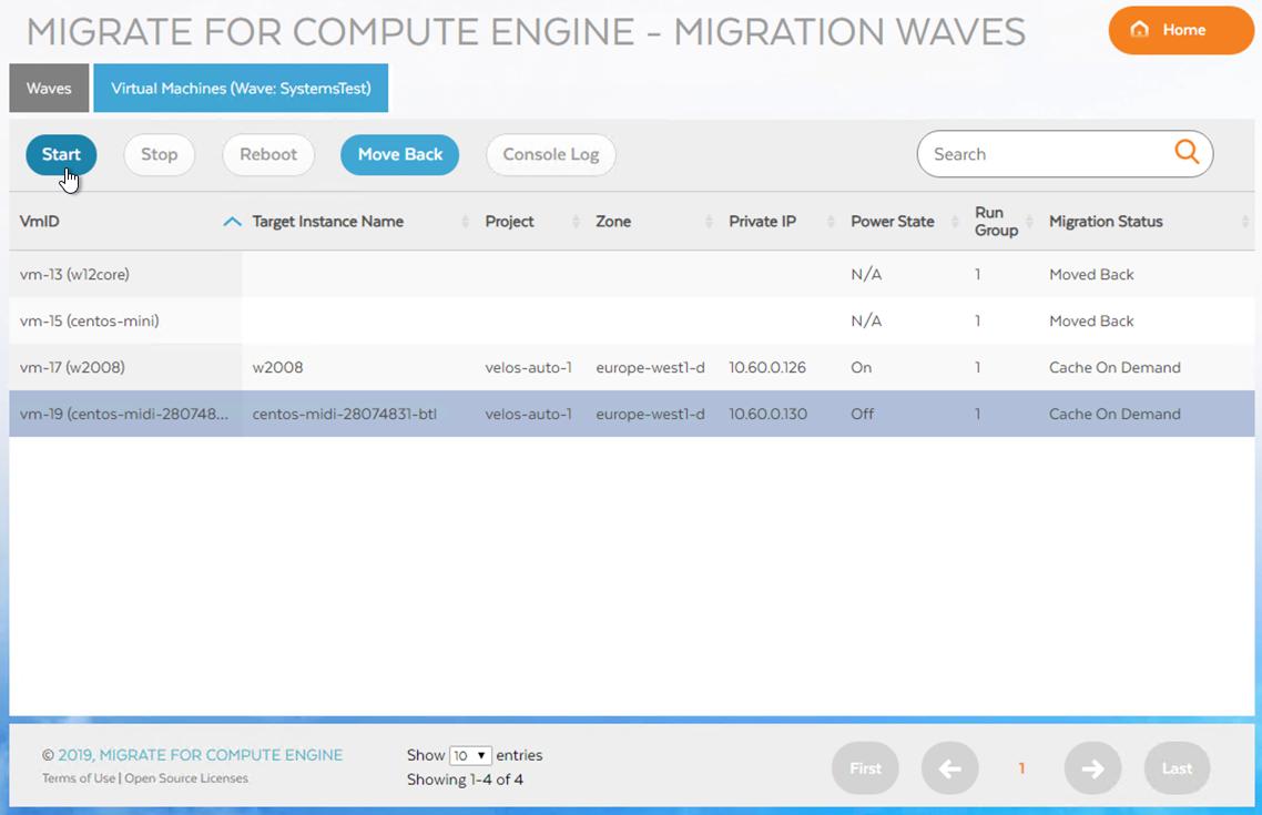 Wave 内の VM を起動するスクリーンショット(クリックして拡大)
