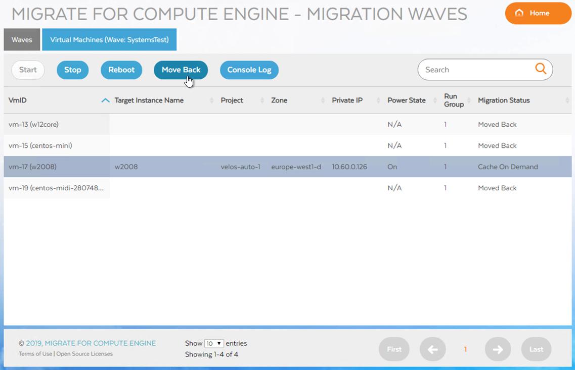 Captura de pantalla del botón Move Back (Migrar al origen); haz clic para ampliar