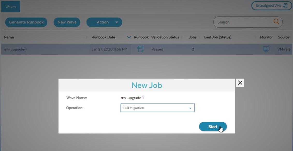 """Screenshot des Dialogfelds """"Neuer Job"""" zum Starten der vollständigen Migration (zum Vergrößern klicken)"""