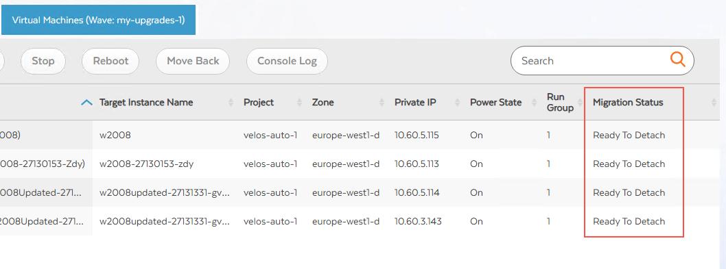 Ready to Detach(분리 준비 완료)인 VM 마이그레이션 상태의 스크린샷(확대하려면 클릭)