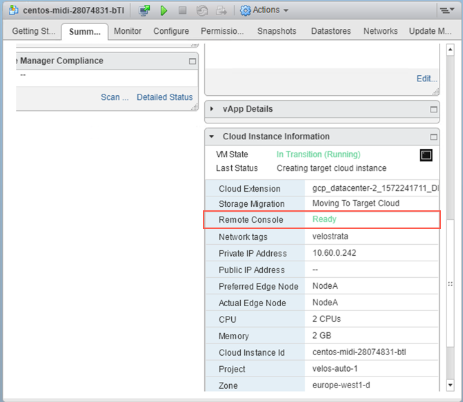 vCenter Cloud instance Summary tab, showing remote console as ready.