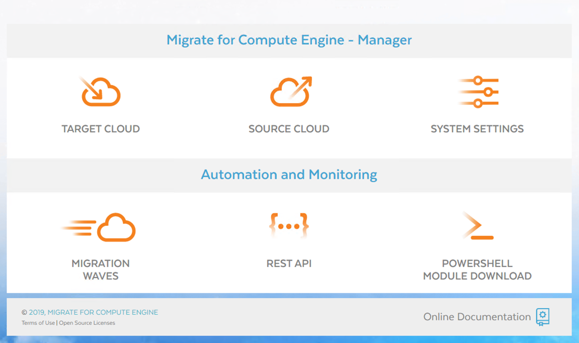 Migrate for Compute Engine Manager のスクリーンショット(クリックして拡大)