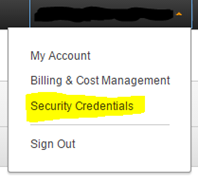 Screenshot of AWS Security Credentials menu command (click to enlarge)