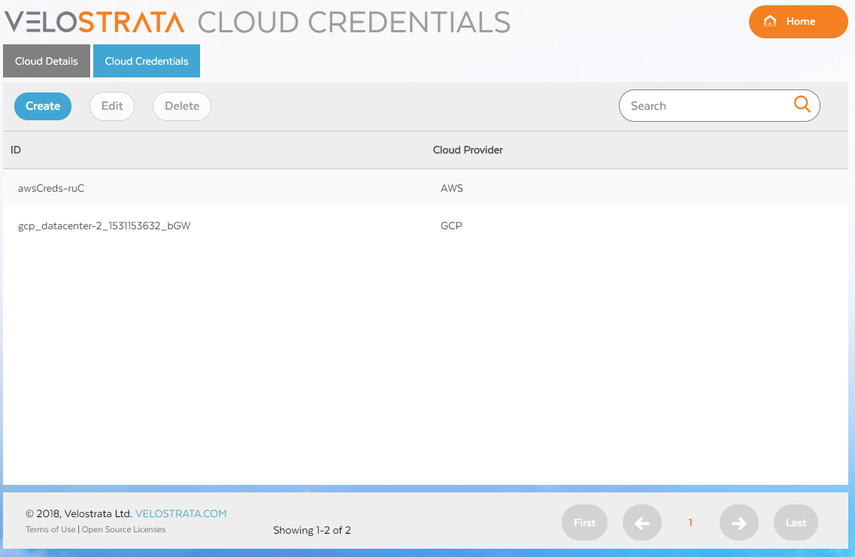 Screenshot of Velostrata Cloud Credentials (click to enlarge)