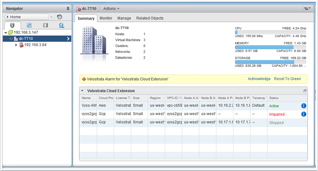 Screenshot of Virtual Datacenter Summary (click to enlarge)