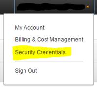 """AWS 安全凭据""菜单命令的屏幕截图(点击放大)"