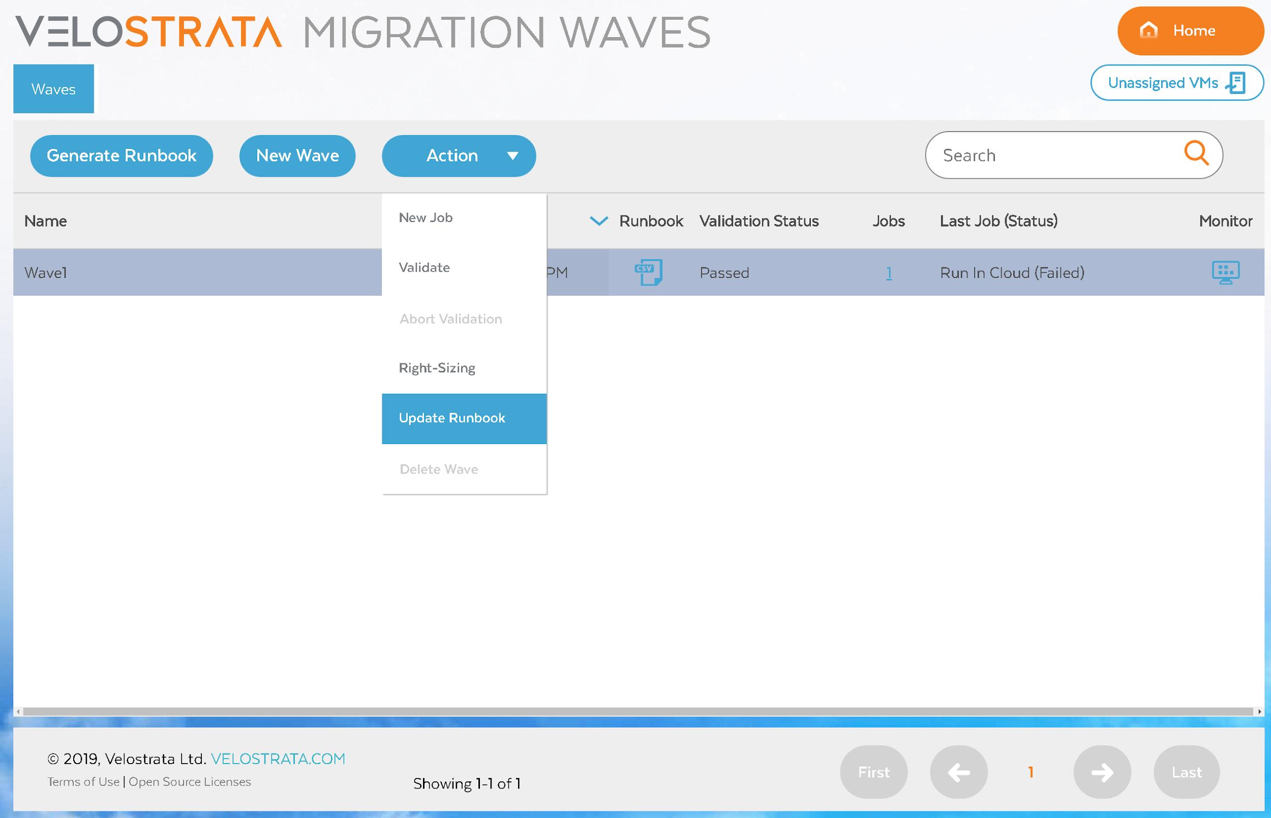 Wave UI からランブックの更新プロンプトにアクセスする方法
