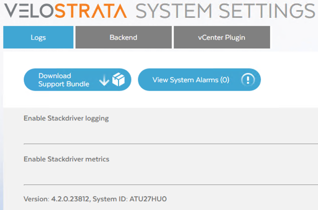 The System ID as visible from the Velostrata Manager