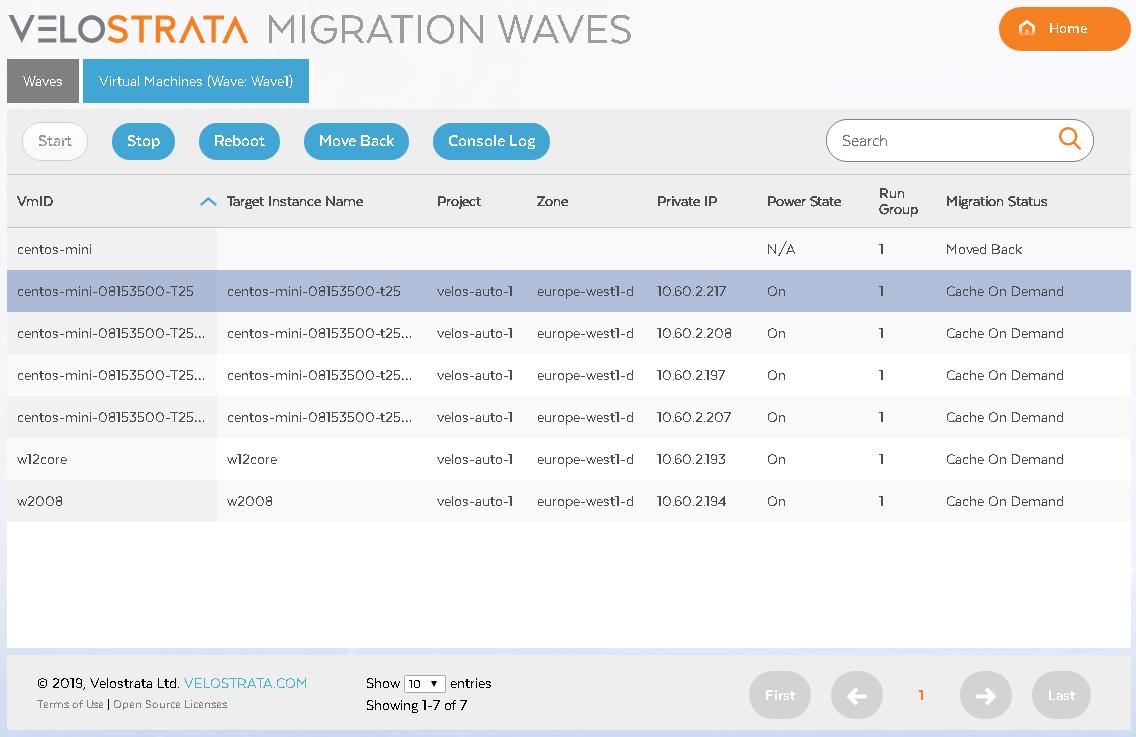Captura de pantalla de la detención de una VM (haz clic para agrandar)