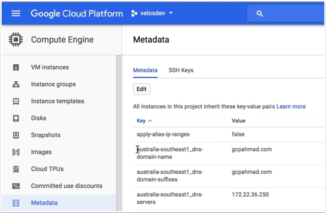 Screenshot of setting project metadata (click to enlarge)