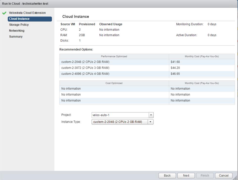 「Cloud Instance」(Cloud 執行個體) 畫面中會顯示可用的執行個體大小和相關建議