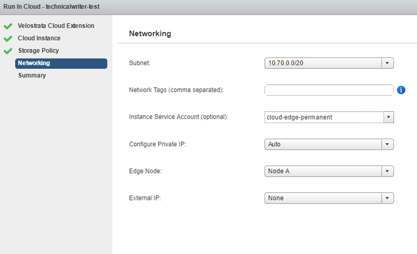 Networking Screen, showing configuration options for your cloud instance's networks