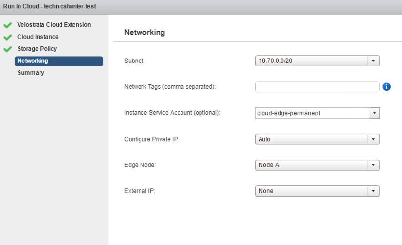 網路連線畫面,顯示雲端執行個體網路的設定選項