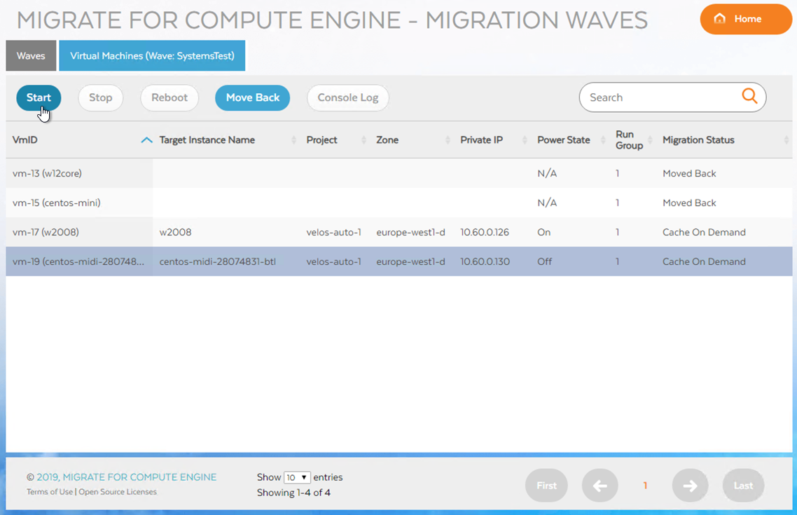 Starten einer VM in einer Wave (zum Vergrößern klicken)