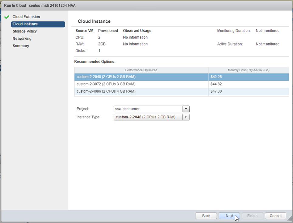 """Tela """"Cloud Instance"""", mostrando os tamanhos de instâncias e recomendações disponíveis"""