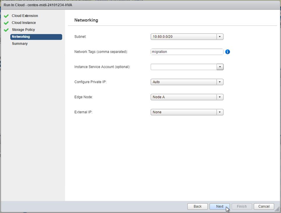Tela de rede, mostrando opções de configuração para as redes da instância de cloud
