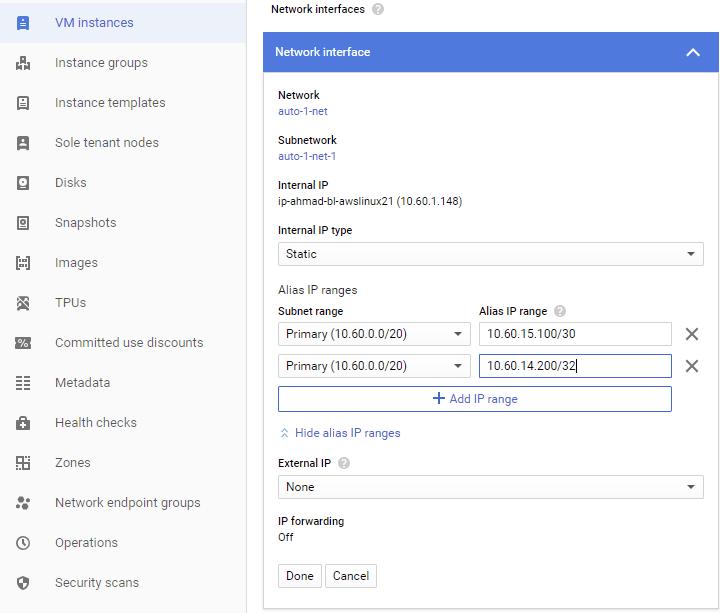 Screenshot of Alias IP Range (click to enlarge)