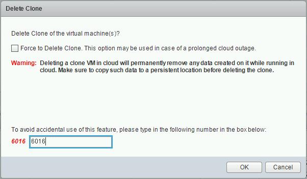 您必须输入屏幕底部框中的数字才能删除克隆