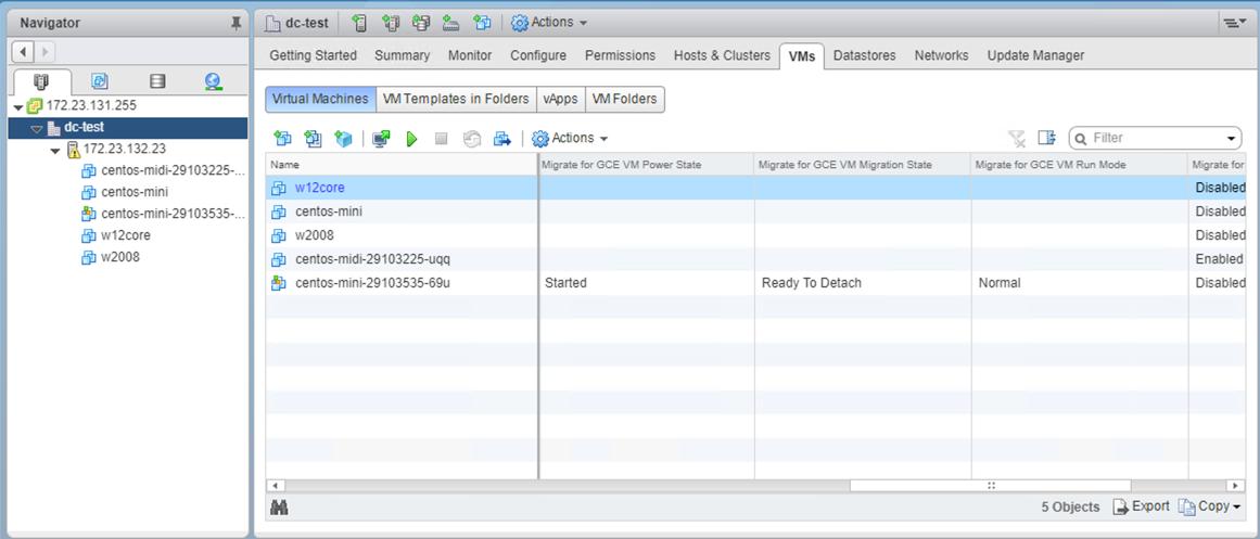 Captura de tela da lista de VMs (clique para ampliar)