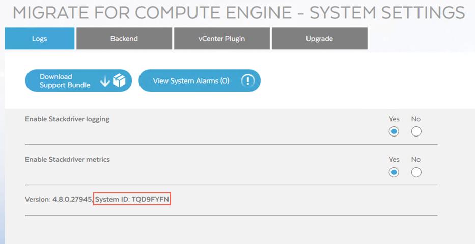 可从 Migrate for Compute Engine Manager 看到系统 ID