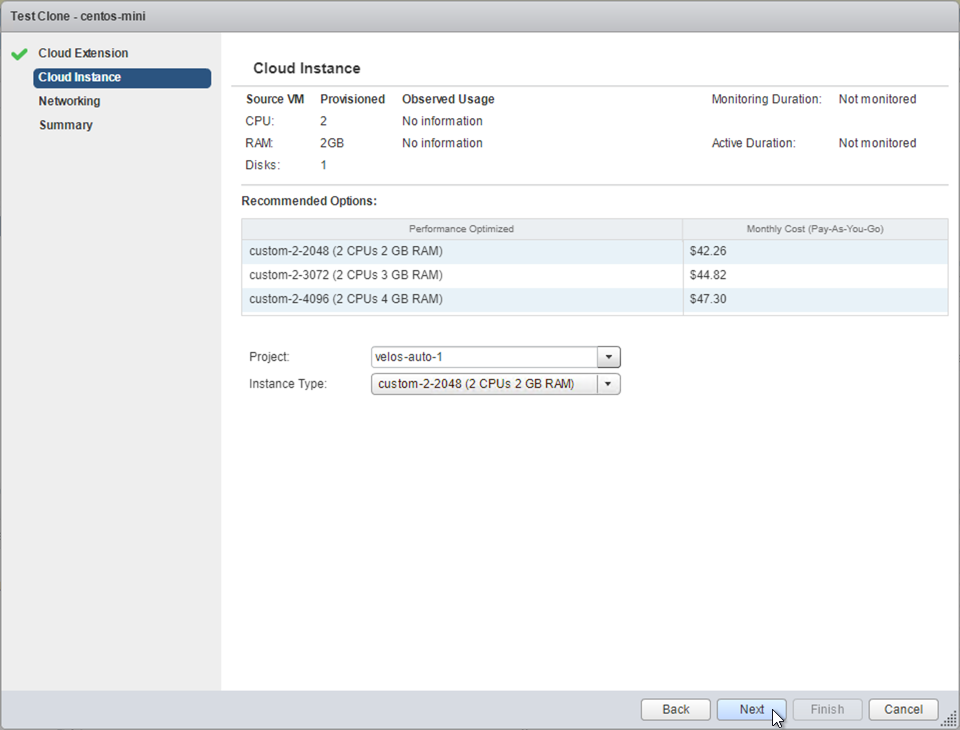 Cloud Instance screen, showing available instance sizes and recommendations