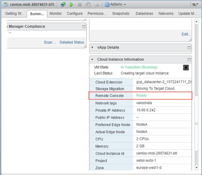 "vCenter 云实例摘要标签页,其中远程控制台显示""就绪""。"