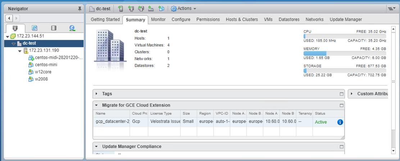 Captura de tela do Resumo do Data Center Virtual (clique para ampliar)