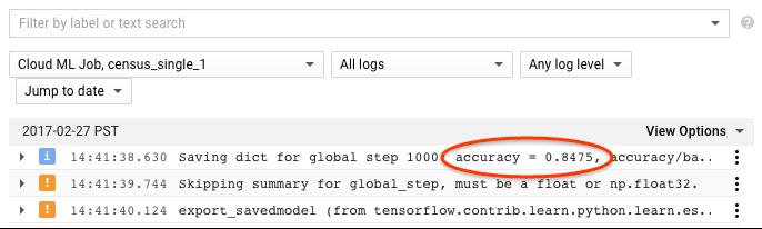 captura de tela do console de registro do Stackdriver para jobs do ML Engine