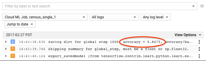 captura de tela do console do Stackdriver Logging para jobs do AI Platform