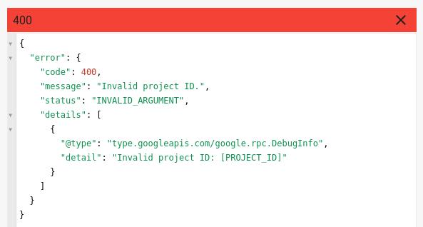 PROJECT_ID を変更し忘れた場合のエラー メッセージ。