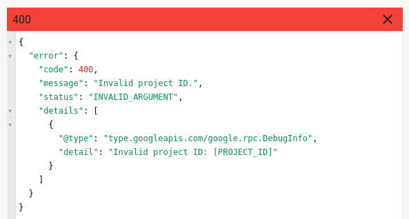 Error message when you forget to change PROJECT_ID.