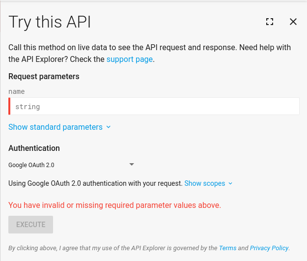 The API Explorer widget