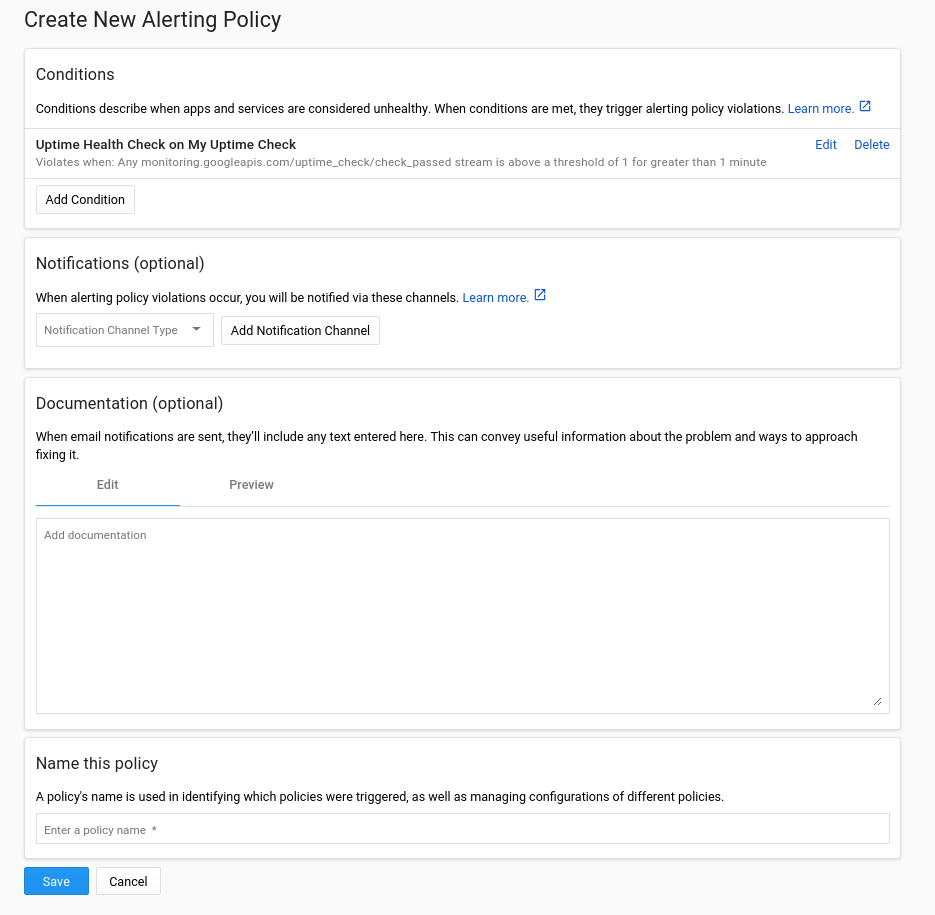 Create new Alerting Policy.