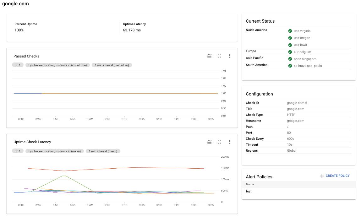 Vista detallada de muestra de una verificación de tiempo de actividad.