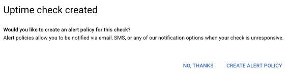 """显示""""正常运行时间检查已创建""""对话框。"""
