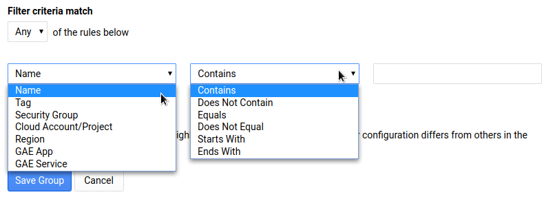 Fields for specifying group criteria.