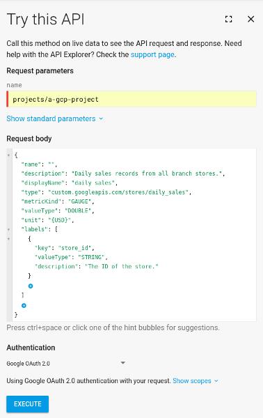"""Boîte de dialogue """"Essayer cette API"""" incluant le corps de la requête de création d'un descripteur de métrique."""