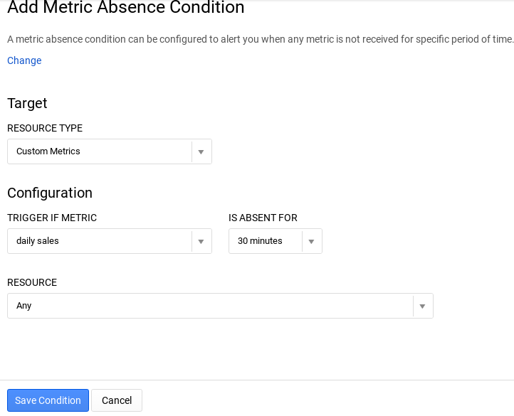 A metric-absence condition
