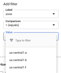 Exemple de liste de libellés de filtrage.