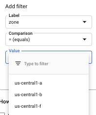 Exemplo de uma lista de rótulos de filtro.