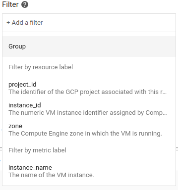 Lists of pre-populated filter labels