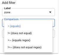 Liste der Vergleichsoperatoren im Filter.