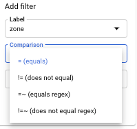 List of filter comparators.